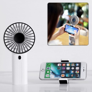 F02 Mini Handheld Portable Rechargeable Fan with Base - White