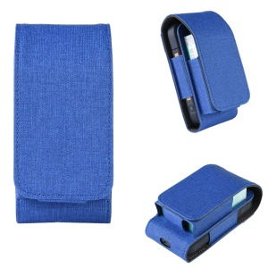 Cloth Coated PU Leather Protective Case for IQOS 2.4 Electronic Cigarette - Blue