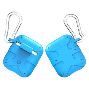 Anti-lost Silicone Protection Case with Carabiner for AirPods with Charging Case (2016) - Sky Blue
