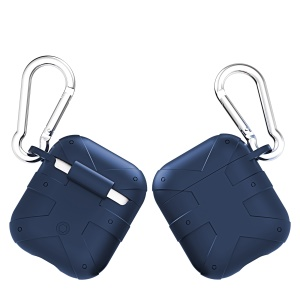 Anti-lost Silicone Protection Case with Carabiner for AirPods with Charging Case (2016) - Navy Blue