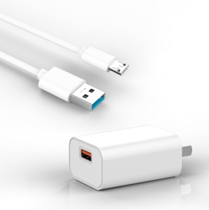 UPL C32 3.5A Quick Charge Wall Travel Charger + Micro USB Charging Cable - White
