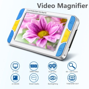5-inch HD LCD Screen Portable Digital Video Magnifier Max 32X Zoom with Flashlight Function (VD-500) - EU Plug