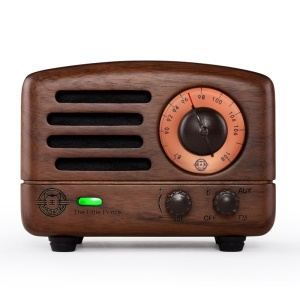 MEOW KING Little Prince Walnut Wood Radio Bluetooth Speaker with AUX-in