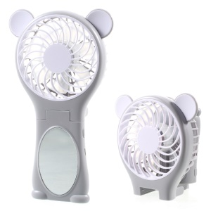 Bear-shaped Portable Foldable Electric Fan with Mirror - Grey