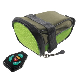 Bicycle Strap-On Saddle Seat Bag with Remote-controlled Caution LED Turn Signal M-05 - Green