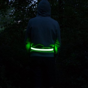LED Reflective Rechargeable Belt for Safe Night Activities - Green