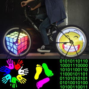 DIY Programmable Cartoon Style IPX6 Colorful 128-LED Bike Cycling Wheel Light - US Plug