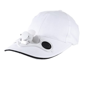 Solar Energy Powered Mini Fan Mounted Golf / Baseball Sports Hat - White
