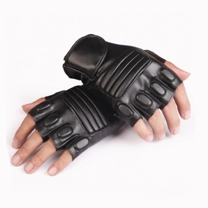 1 Pair of CTSMART 008 Half-finger PU Leather Gloves Cycling Climbing Sports Gloves - Black
