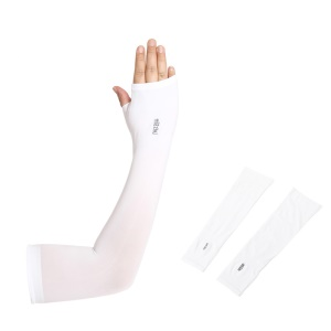 AOTU AT9038-1 1 Pair Cooling Arm Sleeves UV Protection Sunblock Sport Cycling Golf Long Sleeves - White