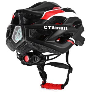 CTSMART Multifunctional Ventilated Cycling Helmet with Safty LED Light - Black
