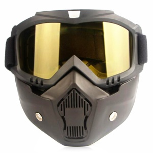 CTSMART Vintage Outdoor Full Face Motorcycle Googles Harley Riding Mask - Yellow