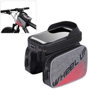 WHEEL UP Bike Waterproof Front Tube Frame Bag Nylon Reflective Bag with 6 inch Touch Screen Cycling Phone Case - Red
