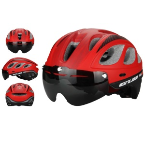 GUB M6 Mountain Road Bicycle Protection Helmet with Lens and Visor, Head Size: 57-61cm - Red