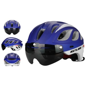 GUB M6 Universal Mountain Road Bicycle Protective Helmet with Lens and Visor, Head Size: 57-61cm - Blue