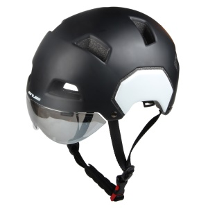 GUB V3 Motorcycle City Helmet with Lens Helmet Protector, Head Circumference: 54-58cm - Size: M / Matte Black + Jet White