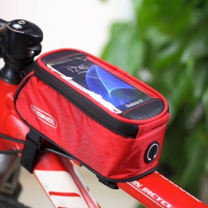 ROSWHEEL 4.8inch Bicycle Top Tube Bag Pouch for iPhone 6 6s (12496M) - Red
