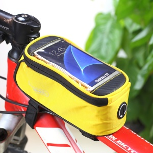 ROSWHEEL 4.8inch Bicycle Front Tube Bag for iPhone 7 6 6s (12496M) - Yellow
