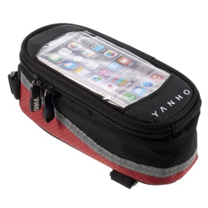 YANHO YAN-02 Bike Polyester + PU Top Tube Bag for iPhone SE/5s/5 - Black + Red