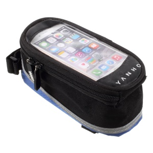 YANHO YAN-02 Bike Polyester + PU Top Tube Bag for iPhone SE/5s/5 - Black + Blue