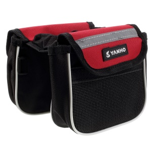 YANHO Red Oxford + Nylon Cycling Bike Tube Bag with Reflective Stripes