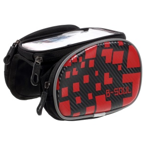 B-SOUL Waterproof Touch Screen Bike Tube Saddle Pouch for 5.5-inch Phone - Red