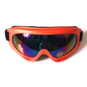 Outdoor Sports Windproof Adult Snowmobile Ski Goggles Protective Glasses - Orange Frame / Colorized Lens