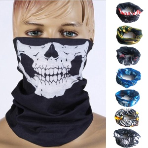 8Pcs / Set Respirável Seamless Skull Face Tube Mask Ciclismo Bandana Neck Gaiter (8 Patterns)