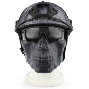 Outdoor Sports Tactical CS Camouflage Breathable Half Face Protector Skull Mask - Black Boa Grain (TY)