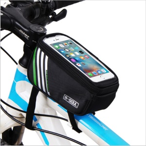 B-SOUL Cycling Bike Frame Pannier Front Top Tube Bag Case Waterproof with Touch Screen - Black