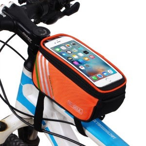 B-SOUL Cycling Bicycle Frame Pannier Front Top Tube Bag Case Waterproof with Touch Screen - Orange