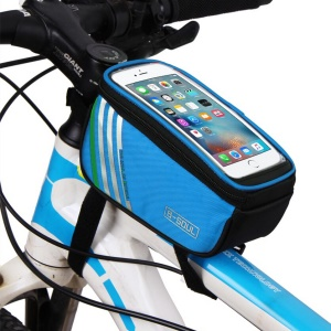 B-SOUL Cycling Bag Bicycle Front Top Tube Bag Case Waterproof with Touch Screen - Blue