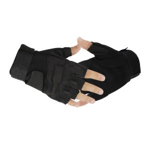 Outdoor Military Tactics Half-finger Fingerless Gloves Hunting Riding Cycling Gloves - Black / L