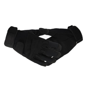 Durable Full Finger Protective Gloves for Outdoor Tactile Cycling - Black / M Size