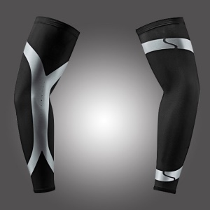 One Pair Sports Long Arm Guard Compression Sleeve for Basketball, Football, Running - Black / L Size