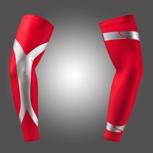 Sports Compression Long Arm Guard Sleeves Protective Cover for Basketball, Football, Running - Red / L Size