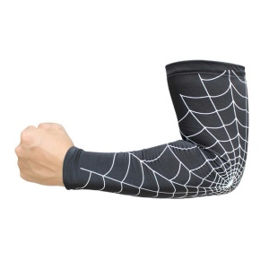 Spider Web Style Anti-Slip Cycling Guard Sleeve Elastic Arm Warmers - White / Black, L