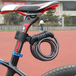 Anti-theft Bicycle Chain Lock 5-Digit Password Bike Security Protector with Fixed Mount