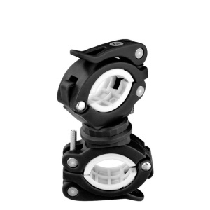 Cycling Bike 360 Degree Rotating Light Double Holder LED Front Flashlight Handlebar Holder - Black + White