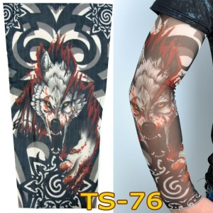 1 Pair Tattoo Sport Cycling Fishing Sun Protective UV Cover Arm Sleeves - Wolf