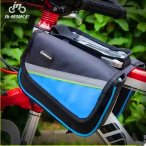 5.5inch Multi-funtion Outdoors Cycling Bike Bicycle Front Tube Bag for iPhone 6s Plus, Size: 20 x 18 x 14cm - Blue