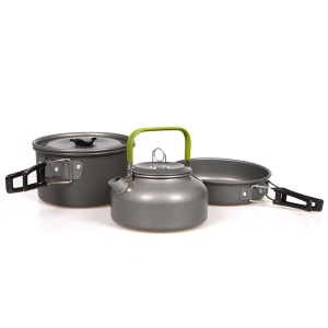HALIN Outdoor Camping Picnic Pot + Pan + Teapot Cookware Set for 2-3 People