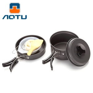 AOTU DS200 Portable Outdoor Camping Picnic Cookware Set for 1-2 People