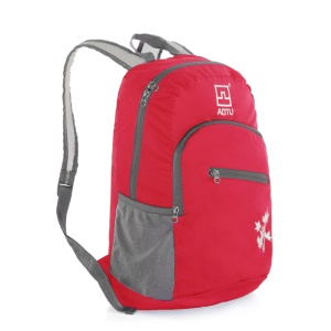 AOTU AT6902 Lightweight Nylon Folding Backpack Portable Traveling Bag - Red