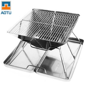 AOTU ATB4 BBQ Compact Barbecue Portatif Barbecue En Acier Inoxydable Porte-barbecue Grill