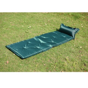 Portable Outdoor Camping Inflatable Mat Picnic Sleeping Pad with Attached Pillow - Green