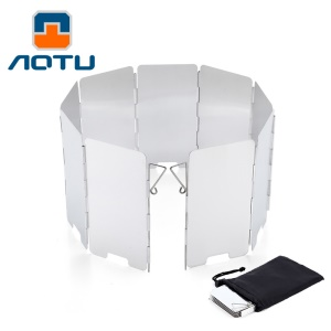 AOTU AT6368 9pcs Aluminum Alloy Outdoor Windshield for Barbecue Stove