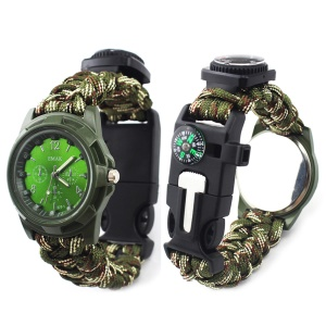 CTSMART 7 in 1 Multi-function Outdoor Survival Bracelet Paracord Tactical Bracelet Kit - Army Green / Camouflage
