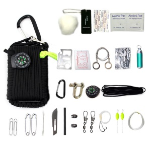 CTSMART Multi-function 29-in-1 Outdoor Survival Firestone Compass Fishing Kit - Black