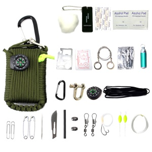 CTSMART Multi-purpose 29-in-1 Outdoor Survival Firestone Compass Fishing Kit - Army Green